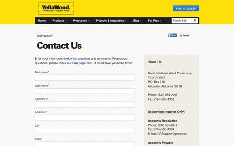 Screenshot of Contact Page yellawood.com - Contact Us - YellaWood® - captured Sept. 24, 2014