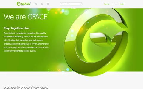 Screenshot of About Page gface.com - Log In, Sign Up or Learn More | GFACE - captured Sept. 19, 2014