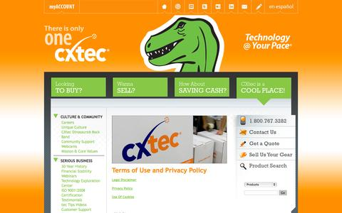 Screenshot of Privacy Page cxtec.com - Terms of Use and Privacy Policy - captured Sept. 27, 2014