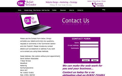 Screenshot of Contact Page d-j-a.com - Contact DJA Web Works - Website Design Northamptonshire - captured Jan. 5, 2017