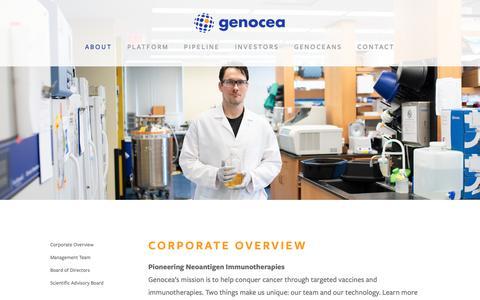 Screenshot of About Page genocea.com - Genocea | Pioneering neoantigen immunotherapies — Genocea - captured Nov. 3, 2018
