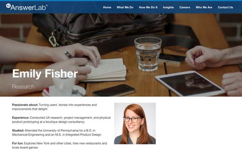 Screenshot of Team Page answerlab.com - Emily Fisher - captured May 4, 2017