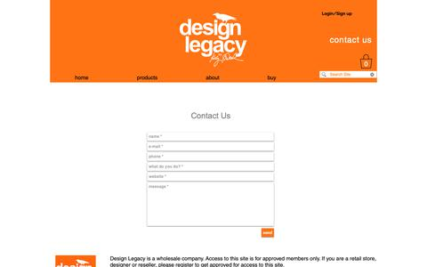 Screenshot of Contact Page design-legacy.com - contact us - captured Oct. 25, 2018