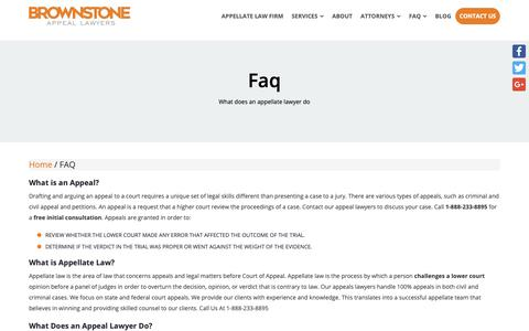 Screenshot of FAQ Page brownstonelaw.com - Appellate Law Process | What is An Appeal Lawyer? - captured Oct. 7, 2018
