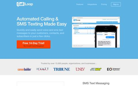 Screenshot of Home Page callloop.com - SMS Marketing   Text Message Marketing   Voice Broadcasting - captured Sept. 12, 2014
