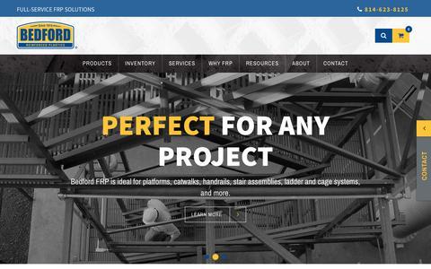 Screenshot of Home Page bedfordreinforced.com - Pultruded Structural Fiberglass, FRP Grating | Bedford Reinforced Plastics - captured Oct. 5, 2018