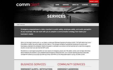 Screenshot of Services Page commalert.com - Services | CommAlert - captured July 20, 2018