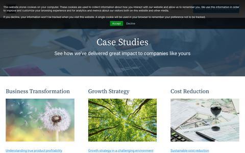Screenshot of Case Studies Page wilsonperumal.com - Insights | Case Studies - captured Oct. 19, 2018