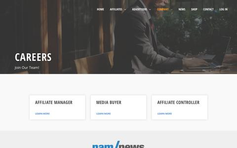 Screenshot of Jobs Page namoffers.com - Careers | nam/offers - The Most Trusted Affiliate Network - captured Sept. 22, 2018