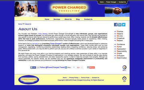 Screenshot of About Page power-charged.com - About Us - Power Charged Consulting - captured Jan. 30, 2016