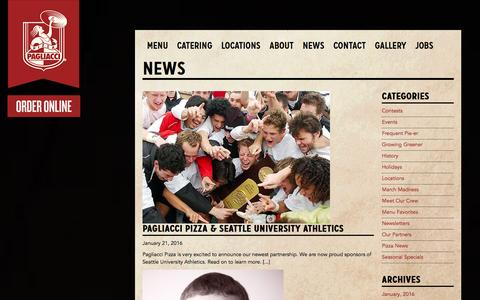 Screenshot of Press Page pagliacci.com - Pagliacci Pizza - Seattle Area Pizzeria and Delivery - News - captured Jan. 24, 2016