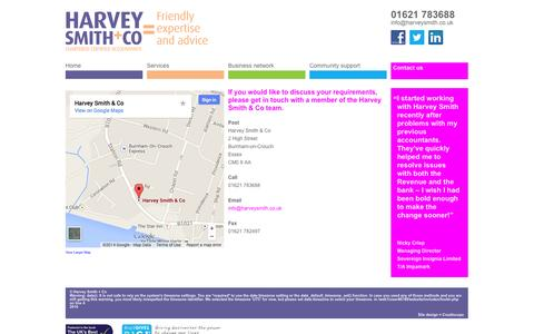 Screenshot of Contact Page harveysmith.co.uk - Contact - captured Oct. 2, 2014