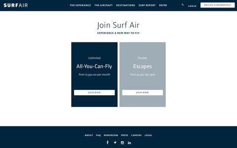 Screenshot of Signup Page surfair.com - Private Air Membership | Surf Air - captured Feb. 3, 2018
