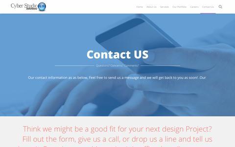 Screenshot of Contact Page cyberstudio.biz - Contact information | Cyber Studio solutions - captured July 24, 2018