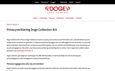 Screenshot of Privacy Page doge-collection.eu - DOGE - Privacyverklaring Doge Collection B.V. - captured Oct. 9, 2018