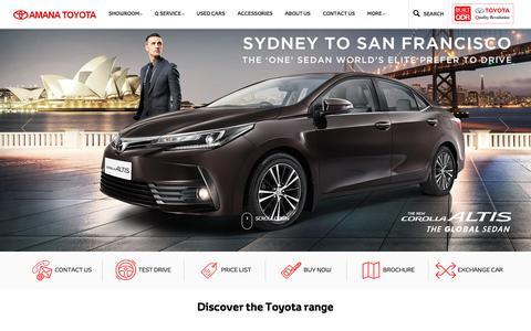 Screenshot of Home Page amanatoyota.com - Amana Toyota | Toyota Dealer | Calicut - captured April 25, 2018