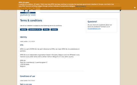 Screenshot of Terms Page eppa.com - Terms & conditions - EPPA - captured Sept. 26, 2014