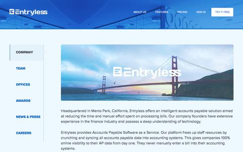 Screenshot of About Page entryless.com - Entryless About Us - captured Jan. 5, 2016