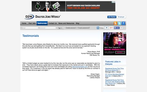 Screenshot of Testimonials Page dialysisjobsweekly.com - Dialysis Jobs Weekly - captured Sept. 30, 2014