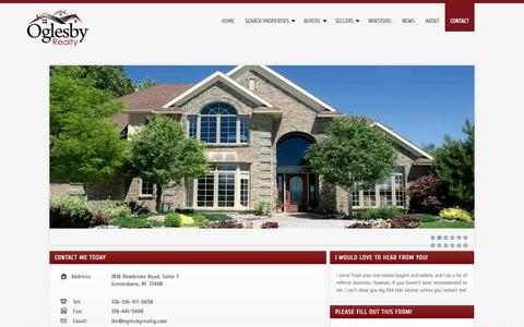Screenshot of Contact Page oglesbyrealty.com - Contact Information for Ike Oglesby - captured Oct. 7, 2014