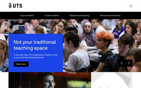 Screenshot of Home Page uts.edu.au - Home | University of Technology Sydney - captured April 9, 2018