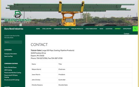 Screenshot of Contact Page dura-bond.com - Corporate Contact Information | Dura-Bond Industries - captured Oct. 13, 2017