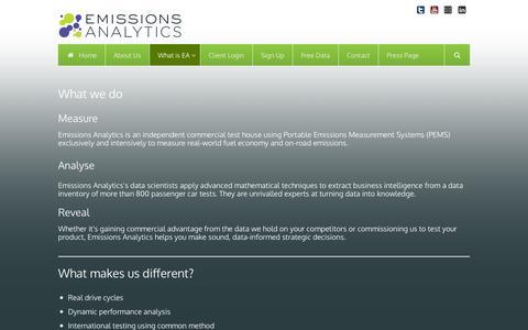 Screenshot of Products Page emissionsanalytics.com - What Emissions Analytics Does | Emissions Analytics | Emissions Data Products - captured Dec. 9, 2015