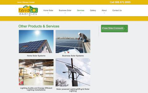 Screenshot of Products Page Services Page terrasolenergies.com - TerraSol Energies Other Products and Services | TerraSol Energies - captured Oct. 25, 2014