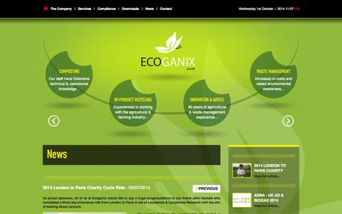 Screenshot of Press Page ecoganix.co.uk - News | Ecoganix - captured Oct. 1, 2014