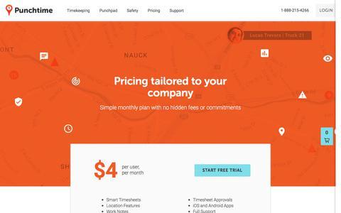 Screenshot of Pricing Page punchtimeapp.com - Punchtime - Smarter Worksites - captured July 8, 2018