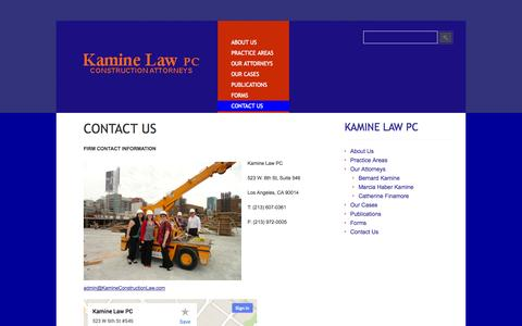 Screenshot of Contact Page kamineconstructionlaw.com - Contact Us » Kamine Construction Law Firm - captured Oct. 6, 2014