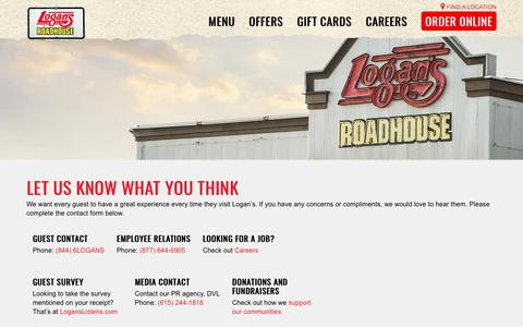 Screenshot of Contact Page logansroadhouse.com - Get In Touch - Contact Logan's Roadhouse - captured Sept. 27, 2018