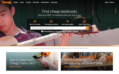 Screenshot of Home Page chegg.com - Chegg Đ Save up to 90% on Textbooks | #1 in Textbook Rental! - captured Jan. 5, 2016