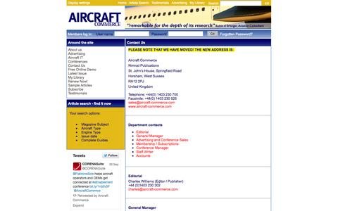 Screenshot of Contact Page aircraft-commerce.com - Aircraft Commerce - The Journal for Commercial Aircraft Business - captured Sept. 30, 2014