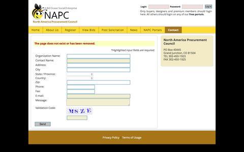 Screenshot of Login Page napc.pro - Contact The North America Procurement Council - captured Jan. 18, 2016