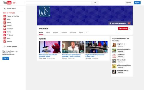 Screenshot of YouTube Page youtube.com - wedental  - YouTube - captured Oct. 27, 2014