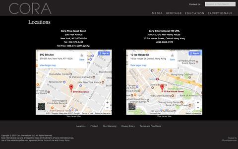 Screenshot of Locations Page corainternational.com - Cora International LLC - captured May 21, 2017