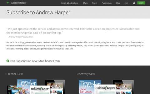 Screenshot of Signup Page andrewharper.com - Andrew Harper | Intelligent Luxury Travel - captured Sept. 30, 2014