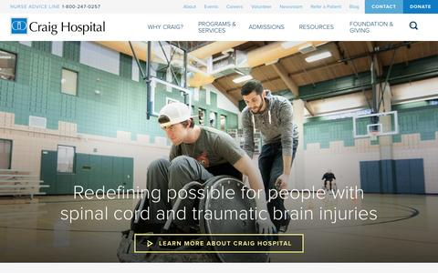 Screenshot of Home Page craighospital.org - Craig Hospital - captured Dec. 13, 2015