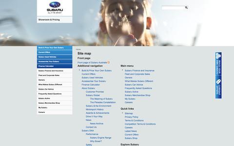 Screenshot of Site Map Page subaru.com.au - Sitemap | Subaru Australia - captured Sept. 25, 2014