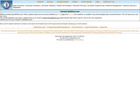 Screenshot of Contact Page sadikhov.com - IT Certification Forum on Sadikhov.com, Certification Exams, MCITP, MCTS, CCNA, CCNP, CCIE - captured Sept. 22, 2014