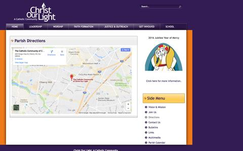 Screenshot of Maps & Directions Page christourlight.net - Directions - captured Oct. 27, 2016