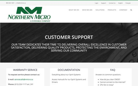 Screenshot of Support Page northernmicro.com - Support - Northern Micro - captured June 18, 2019