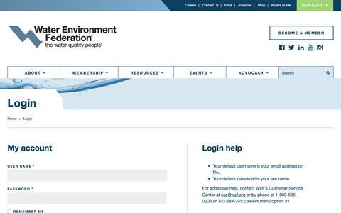 Screenshot of Login Page wef.org - Login - captured Oct. 19, 2018