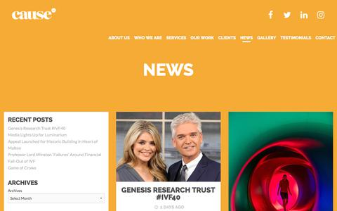 Screenshot of Press Page causeuk.com - News Archives - Cause UK - captured July 16, 2018