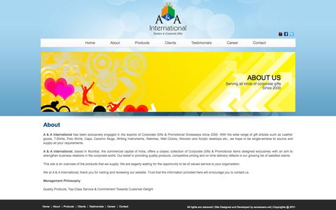 Screenshot of aaintl.net - Corporate gift dealers   Corporate gifts india   Corporate gift items - captured Oct. 3, 2015
