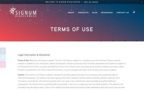 Screenshot of Terms Page signumbiosciences.com - SIGNUM BIOSCIENCES | Terms of Use - captured Oct. 19, 2018