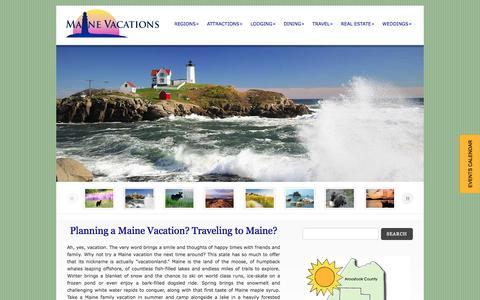 Screenshot of Home Page etravelmaine.com - Maine Vacations: Maine Vacation - Maine Travel Vacations Deals & Guide - captured June 19, 2015