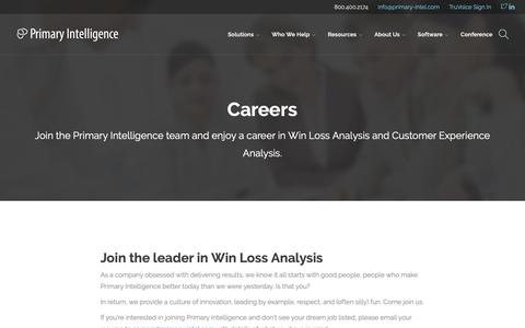 Screenshot of Jobs Page primary-intel.com - Careers - Primary Intelligence - captured Feb. 7, 2019