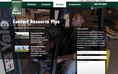 Screenshot of Contact Page resourcep.com - Contact Us | Resource PlusResource Plus - captured Feb. 16, 2016